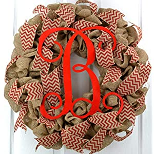 Burlap Wreath | Monogram Gifts for Women | Red Chevron Initial Letter Front Door Wreath - MANY COLORS 16