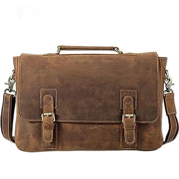 0ec093eb9afce Vintage Style Leder Büro Aktentasche Tote 14 quot  Notebook Flache Schulter Umhängetasche  Umhängetasche