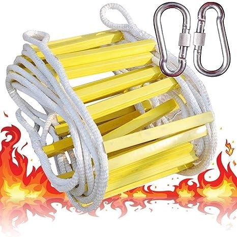 Escalera Cuerda Escape Incendios Escalera De Cuerda De Escape Blanda De Emergencia Contra Incendios 2 Anillos De Alpinismo Ganchos Acero Resina Amarilla Estructura Del Cojinete Peso 500 Kg Escalera ,3m: Amazon.es: Deportes