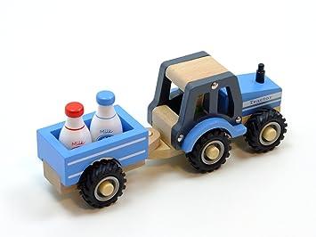 Bauernhof New Classic Toys 11942 Traktor mit Anhänger und Milchkannen Fahrzeuge