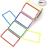 "APLANET 360pcs Colorful Name Sticker Tag Labels, 3 1/2""x2 1/4"", 6 Colors"