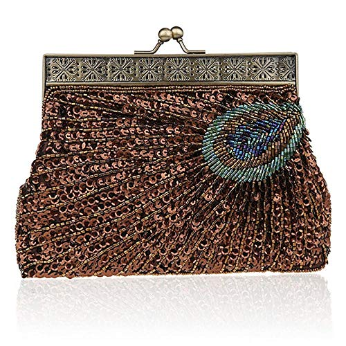 Color Wedding RISUP Deep Evening Sequin Noble Beaded Peacock Coffee Purse Women's Clutch 1U1ZqPn