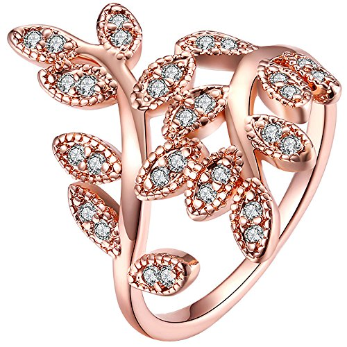 Ring Style Thin Carved Stackable (LWLH Womens 18K Rose Gold Plated Cubic Zirconia Cz Leaves Ivy Leaf Vine Love Promise Ring Wedding Band Szie 7)