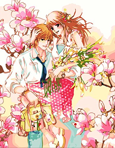 YEESAM ART DIY Paint by Numbers for Adults Beginner Kids, Anime Romantic Lovers Pink Peach Blossom Flowers 16x20 inch Linen Canvas Acrylic Stress Less Number Painting Gifts (Anime, Without Frame) -