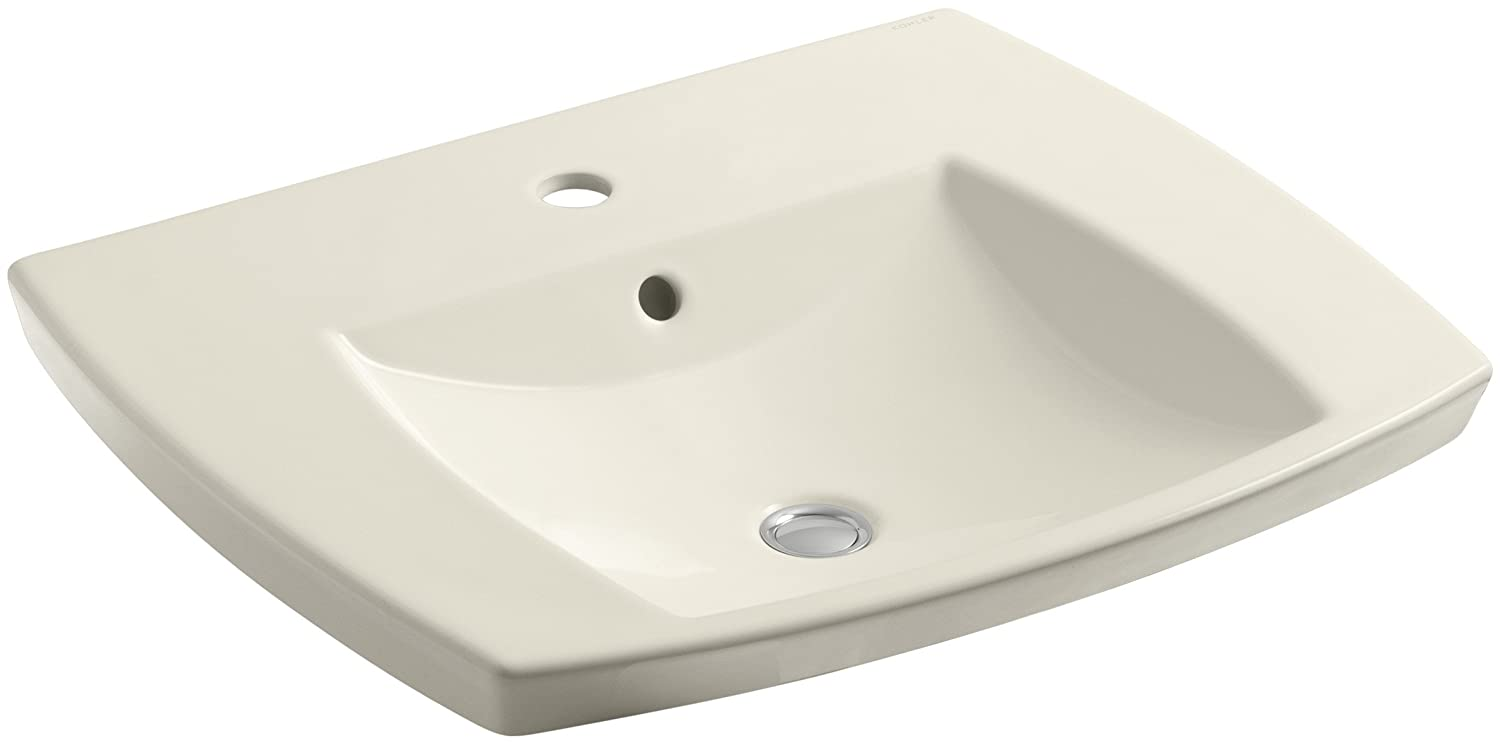 KOHLER K-2381-1-47 Kelston Self-Rimming Bathroom Sink with Single-Hole Faucet Drilling, Almond