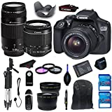 Canon EOS 1300D  /Canon EOS Rebel T6 DSLR Camera with 18-55mm IS II Lens + 75-300mm f/4-5.6 III Lens + Extra Battery + Tripod + Telephoto & Wide Angle Lens + Two 16GB Memory Cards + Accessories