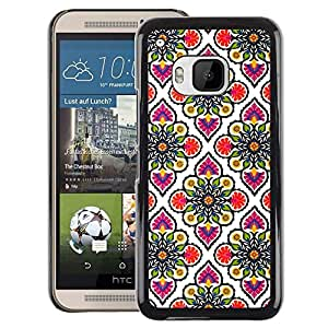 A-type Arte & diseño plástico duro Fundas Cover Cubre Hard Case Cover para HTC One M9 (Wallpaper Pink White Pattern)