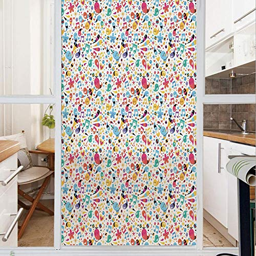 Decorative Window Film,No Glue Frosted Privacy Film,Stained Glass Door Film,Happiness Vibes with Flowers Stars Musical Pitch Tempo Sound Hearts Childish Design,for Home & Office,23.6In. by 59In Multic