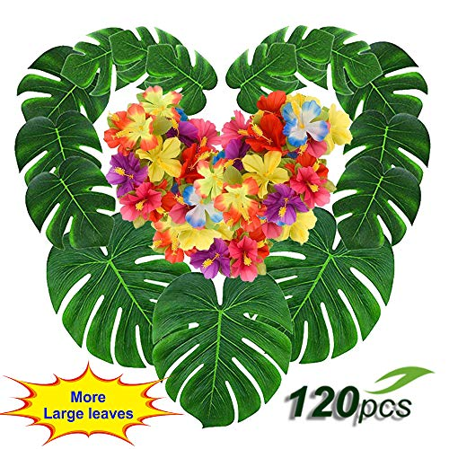 Coodoo 120pcs Palm Leaves and  Hawaiian Hibiscus Flowers Tropical Party Decorations Set Artificial Leaves Greenery Décor Jungle Theme Party Supplies for Hawaiian Luau Party Birthday Baby Shower Beach