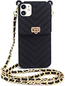Fusicase for iPhone 11 Wallet Case with Neck Strap Crossbody Strap Lanyard Handbag Wrist Strap Protective Cover Credit Card Holder Slot Purse for Girls Women Silicone Case for iPhone 11 Black