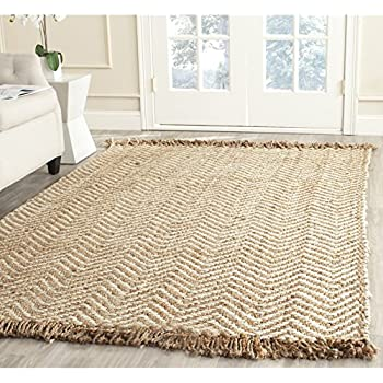 Safavieh Natural Fiber Collection NF458A Hand Woven Bleach And Natural Jute  Area Rug (8u0027 X 10u0027)