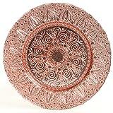 Koyal Wholesale Bulk Morocco Glass Charger Plates, Set of 4, Rose Gold