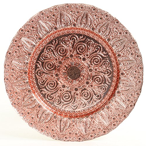 (Koyal Wholesale Bulk Morocco Glass Charger Plates, Set of 4, Rose Gold)