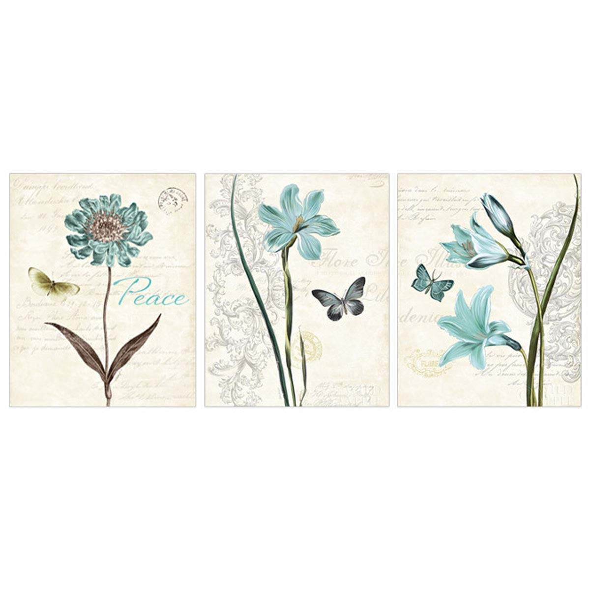 3-Piece Diamond Painting Full Drill Kits for Adults Large 47x18'' Triptych Painting with Diamonds for Home Wall Decors - Butterfly & Flower (120x45cm)