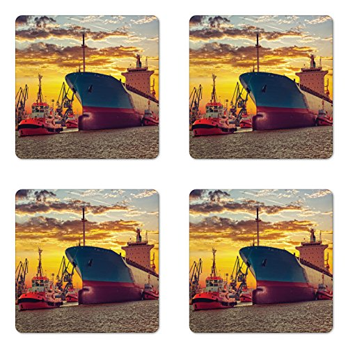 Ambesonne Nautical Coaster Set of Four, Giant Transportation Ship Escorting Tugs Leaving Port City Water at Sunset Marine Photo, Square Hardboard Gloss Coasters for Drinks, Multi