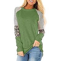 yokamira Women's Long Sleeve Leopard Color Block Tunic Comfy Stripe Round Neck T Shirt Tops