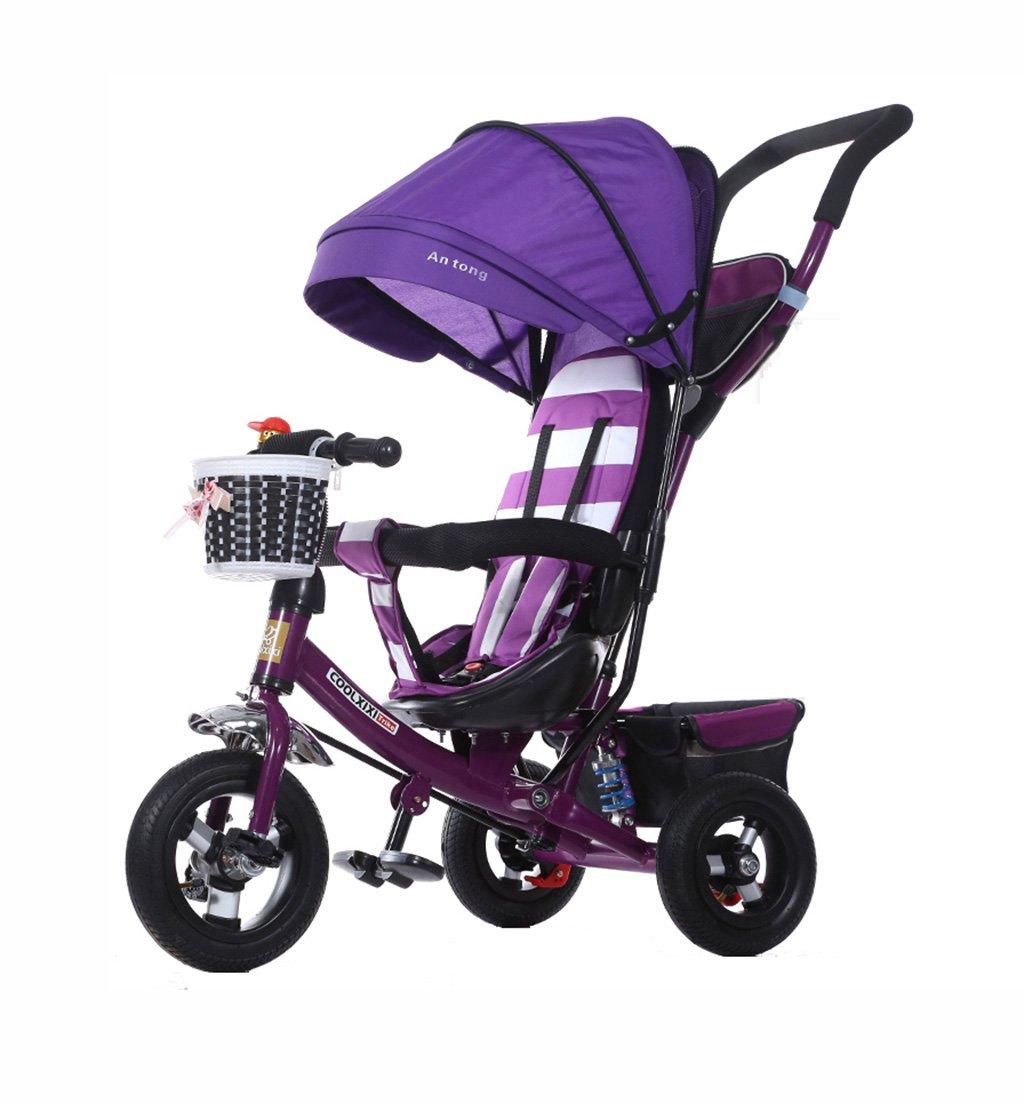 子供の三輪車の折りたたみ/衝撃吸収/発泡ホイールベビーバギーベビー自転車1-5歳の子供の自転車ベビーベビーカーの紫25kg B07F3DF6GF