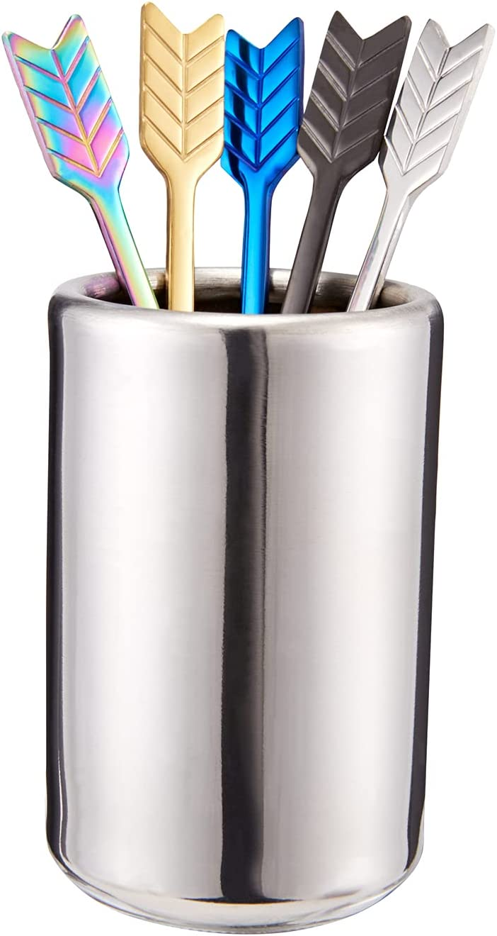 5 Pcs Stainless Steel Coffee Beverage Stirrers-Stir Cocktail Drink Swizzle Stick with Stirrers Holder,Multicolor