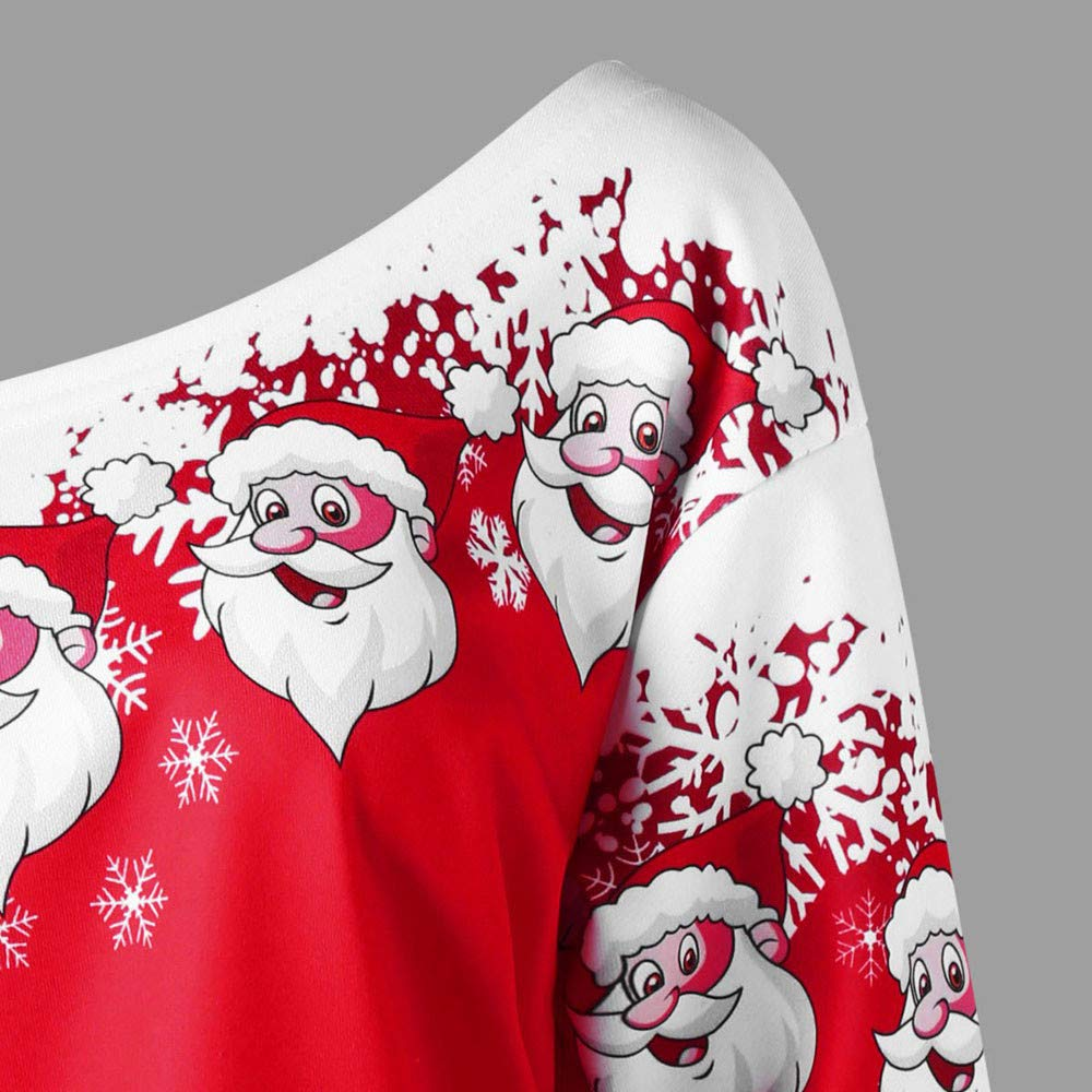 Amazon.com: Tops Daoroka Womens Fashion Merry Christmas Santa Claus Print Off Shoulder Skew Collar Sweatshirt Blouse: Home Improvement