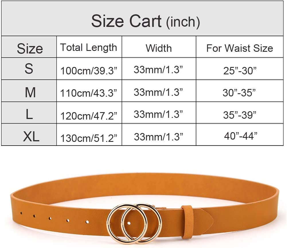 UnFader Fashion Trendy Faxu Leather Waist Belts for Jeans Dress Women Belts with Double O Circle Buckle