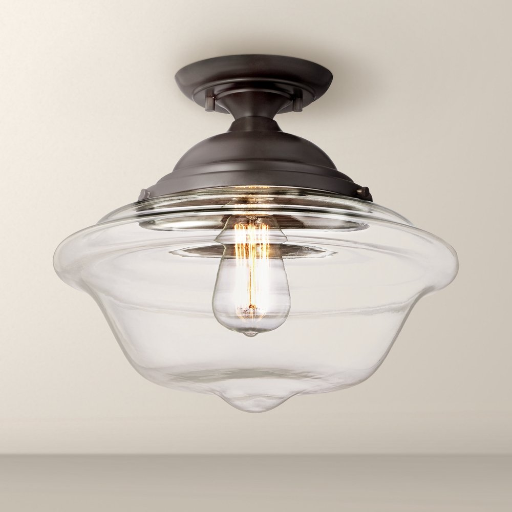 Possini euro schoolhouse 13 wide bronze ceiling light amazon aloadofball Image collections