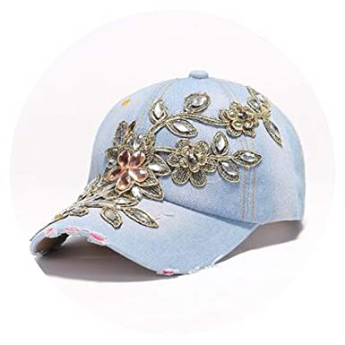 Vintage Luxury Rhinestones Woman Cowboy Baseball Cap Flower Pattern Gorras Female Glass Diamond Hat,Denim