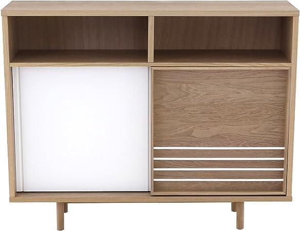 INWOOD Mueble de Entrada 2 Puertas, Madera Natural y Blanco Lacado Vogue-meuble de Entrada 2 Puertas correderas Madera Natural y Blanco Lacado Vogue: Amazon.es: Hogar