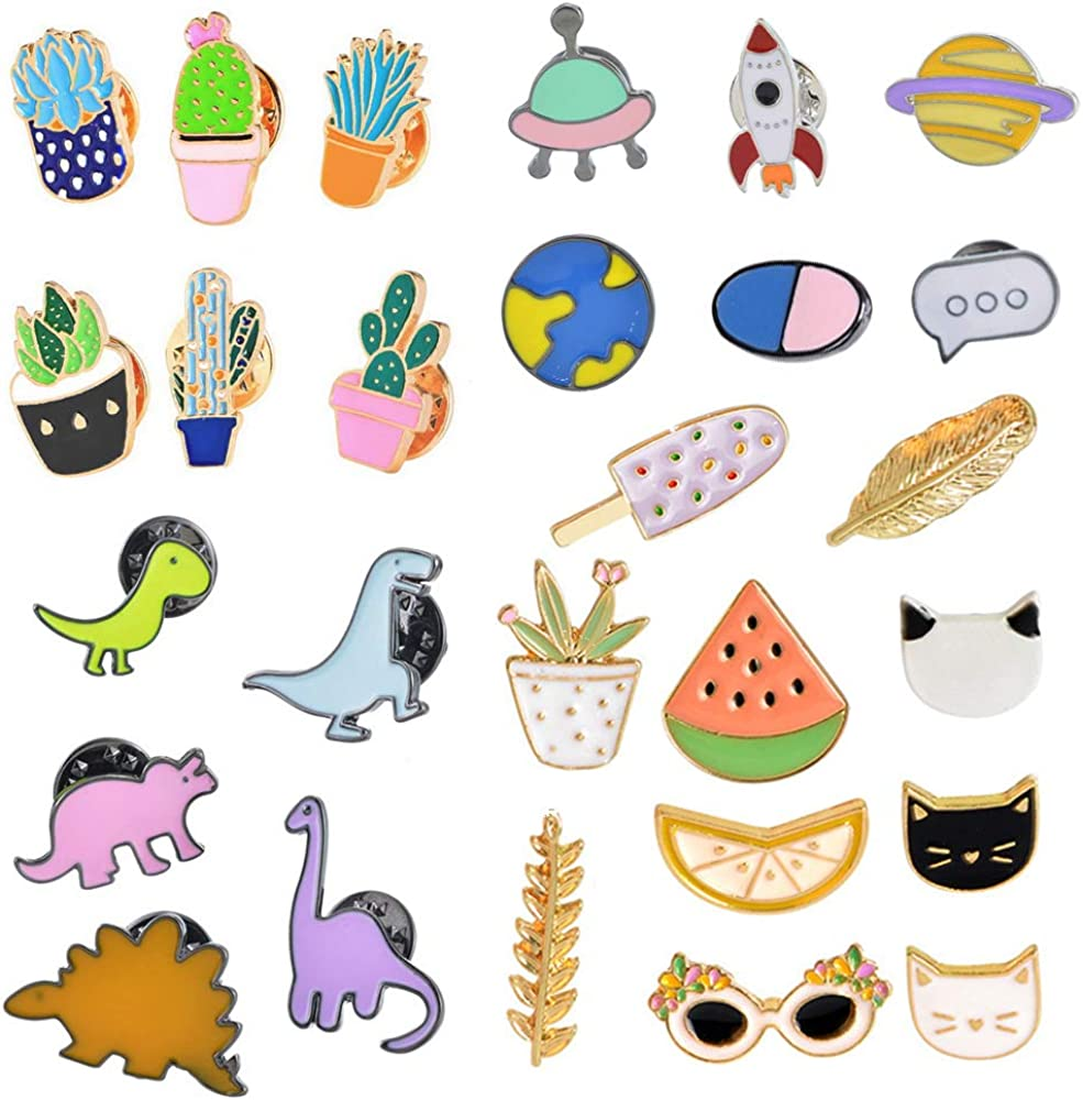 MJartoria 27PCS Cute Brooch Enamel Pins Set-Cartoon Dinosaur Fruit Plants Cat Novelty Lapel Pins Badges for Backpacks Clothing Bags Jackets Accessories Supplies DIY Crafts