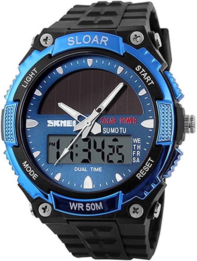 SKMEI reloj de pulsera para hombre de energía solar, con doble indicación horaria, resistencia al agua: 50 m.