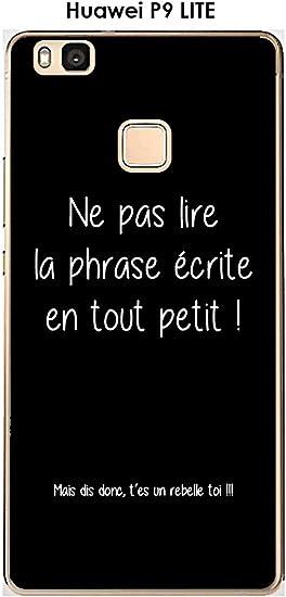 Coque Huawei P9 Lite Design Citation Rebelle Texte Blanc Fond Noir ...