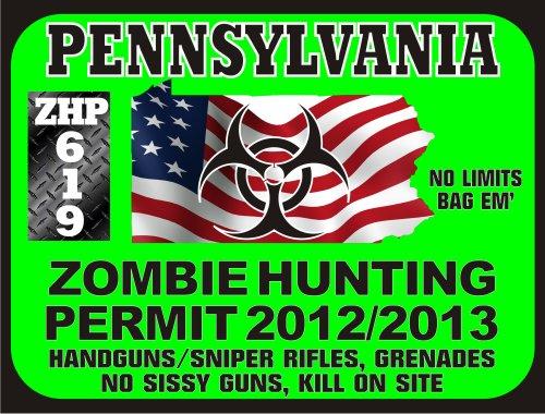 Pennsylvania Zombie Hunting Permit 2012/2013 (Bumper Sticker)