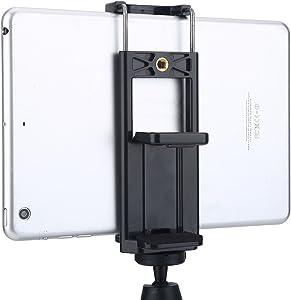 Serounder Universal 2 in 1 Tripod Adapter Tablet Phone Holder Clip Stand Mount Bracket Fits on Tripod, Monopod, Selfie Stick