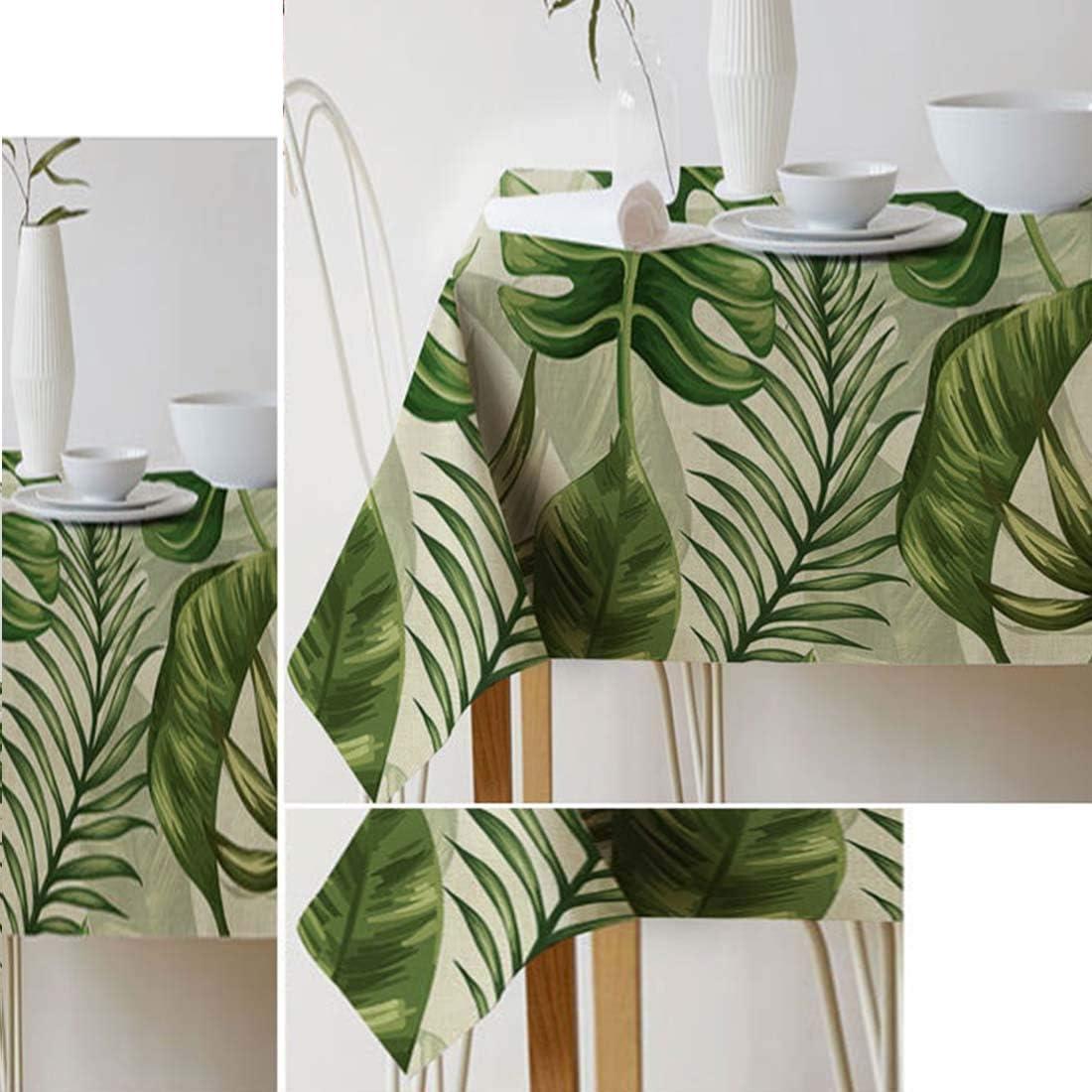GWELL Gr/üne Pflanze Tischdecke Leinen Tischtuch Pflegeleichte Tischw/äsche Tischl/äufer Eckig viele Gr/ö/ße Farbe w/ählbar 100/×140cm Blatt-G