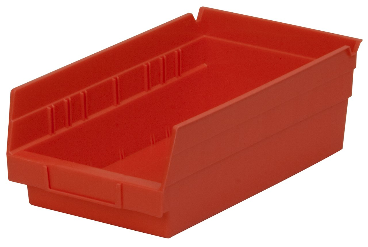 Akro-Mils 30130 12-Inch by 6-Inch by 4-Inch Plastic Nesting Shelf Bin Box, Red,Case of 12