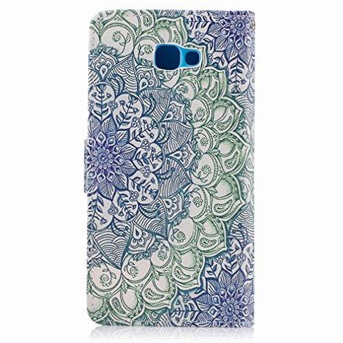 Yiizy Samsung Galaxy J5 Prime (G570, G570F/DS, G570Y) Custodia Cover, Di Fiore Verde Design Sottile Flip Portafoglio PU Pelle Cuoio Copertura Shell Case Slot Schede Cavalletto Stile Libro Bumper Prote