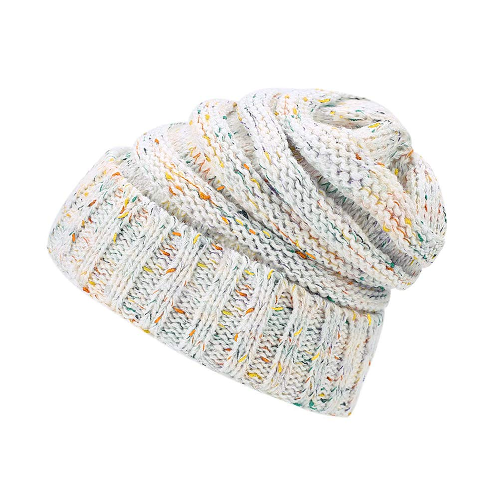 Lamdgbway Chunky Knit Beanie Colored-Spots Stretch Cable Messy Ponytail  Beanie Bun Hat White at Amazon Women s Clothing store  99ac5f015b9f