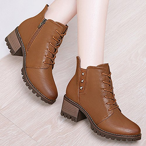 KHSKX-Autumn And Winter Boots Female Vintage British Martin Boots Boots With Thick Soles Root Velvet Lace Boots Single Winter Shoes Shoes Light brown es8vjCIuY