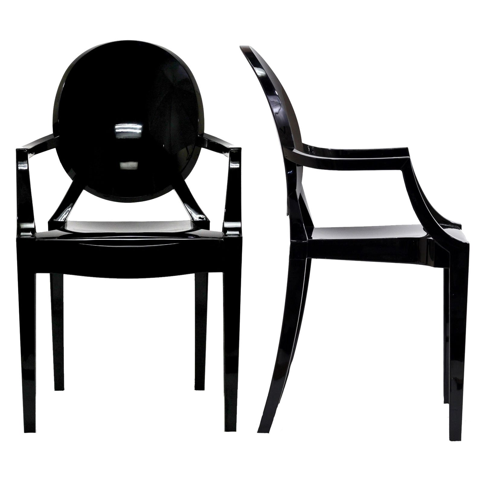 Modway Casper Modern Acrylic Dining Armchairs in Black - Set of 2 by Modway