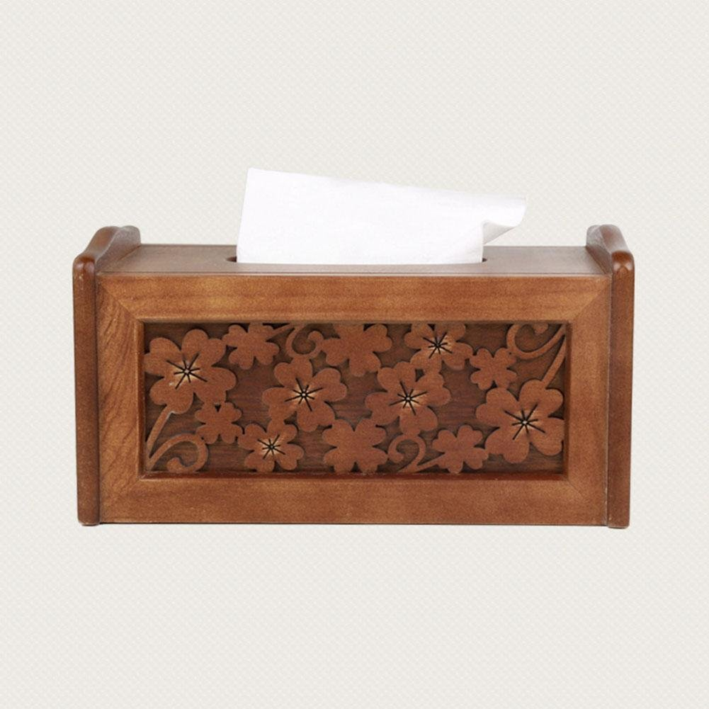 Retro Wooden Tissue Box Holder Cover Handmade Carved for Home Office Decor , log color , 231214