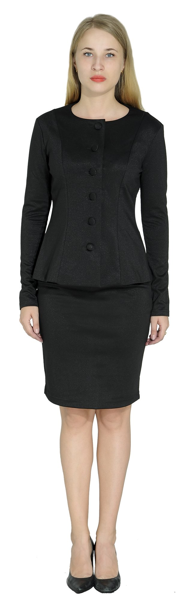 Marycrafts Women's Formal Office Business Work Skirt Suit Set 12 Onyx Black