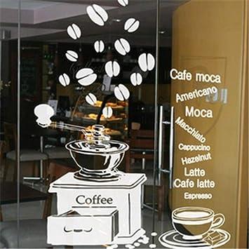etiqueta de la pared Cafetería Etiqueta Cafetera para café expreso Máquina para calcomanías de café Decoración mural para cafetería cafetería: Amazon.es: Bricolaje y herramientas