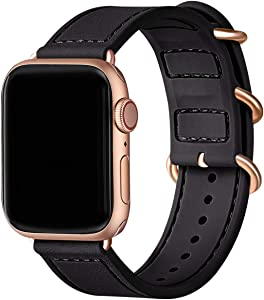 BesBand Compatible with Apple Watch Bands 44mm 42mm 40mm 38mm for Women Men,Soft Silicone Sport Strap Replacement Band for Apple Watch SE & iWatch Series 6/5/4/3/2/1 (Black/Rose gold, 42mm 44mm)