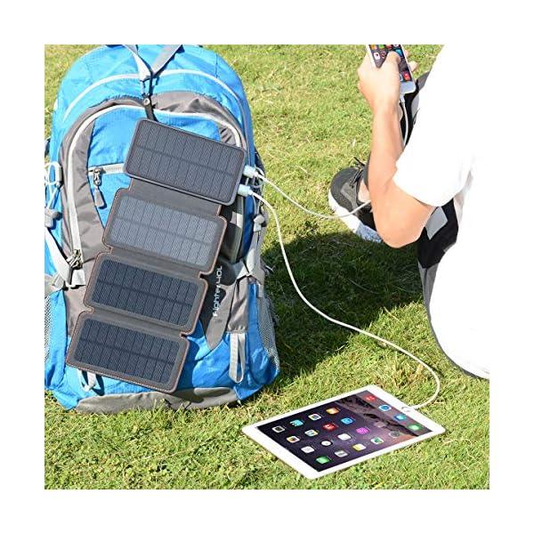 61ft3cwztNL A ADDTOP Solar Powerbank 25000mAh Solar Ladegerät mit 2 USB Power Bank Wasserdicht Tragbare Externer Akku für…