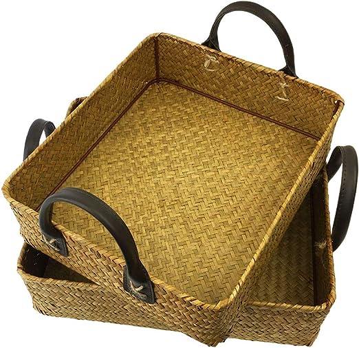 | Handwoven Rectangular Seagrass Baskets High