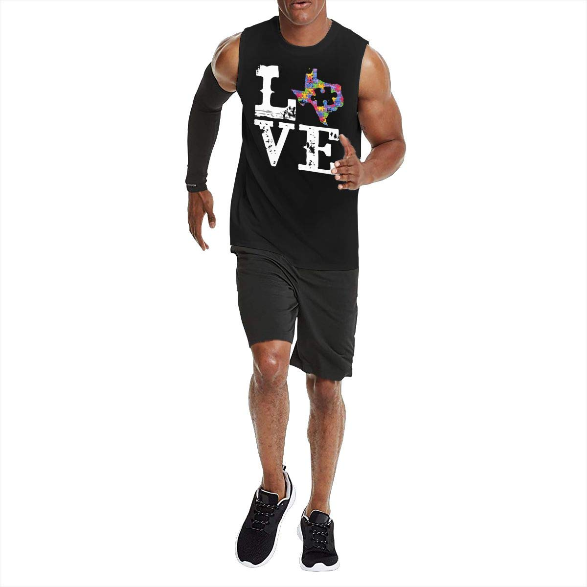 Mens Love Texas Autism Tank Top Sleeveless Athletic Muscle T-Shirts