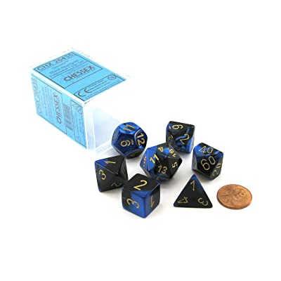 Chessex Dice FBA_26435 Polyhedral 7-Die Gemini Set - Black-Blue with Gold Chx-26435, Multicolor: Toys & Games