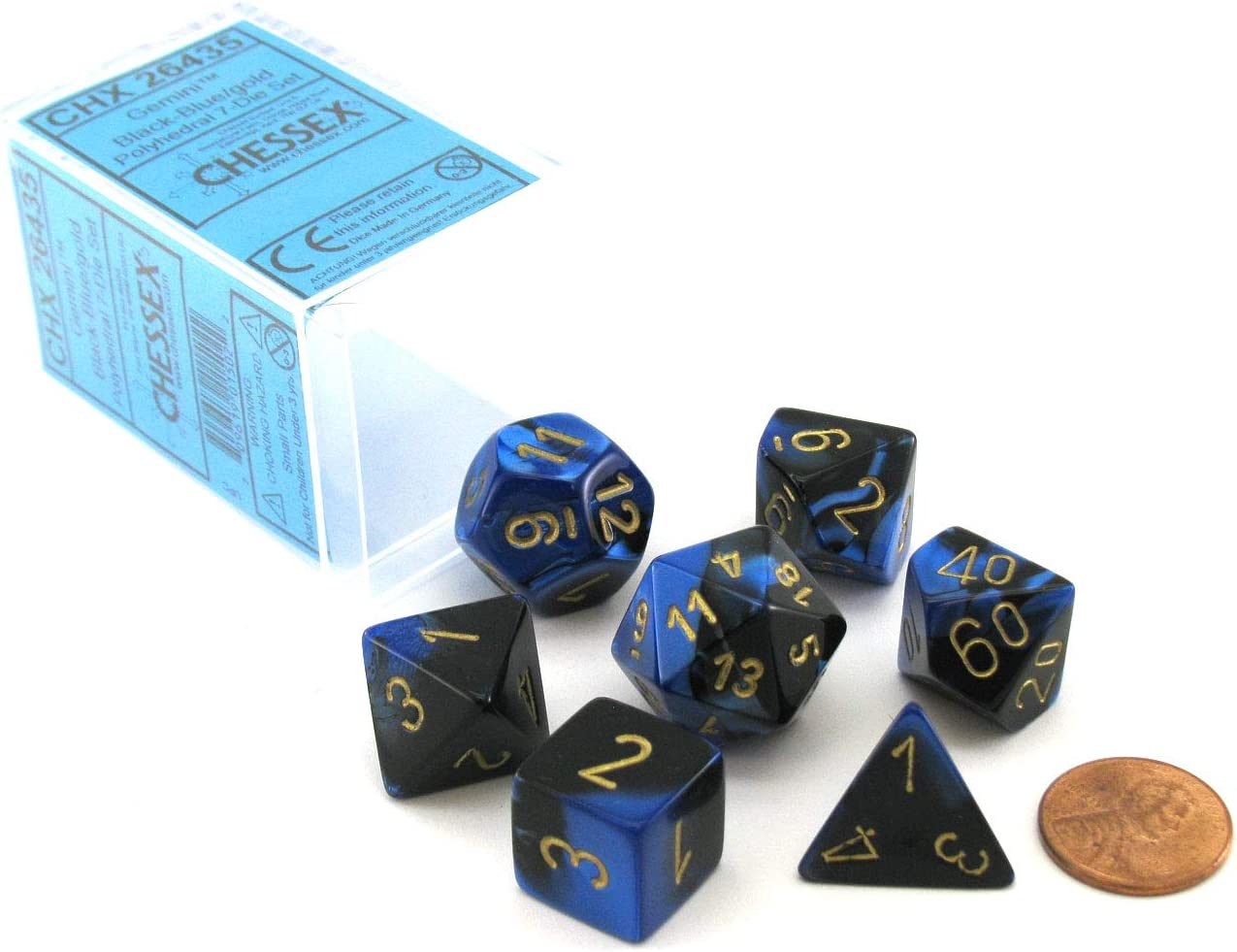 7 DIE SET Blue-Red with Gold D20 D10 D4.. CHESSEX GEMINI DICE