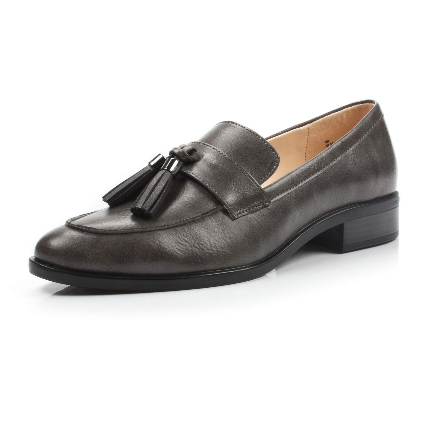 Bertha Dark Grey DUNION Women's Brandon Chain Decorated Penny Loafers Low Heels Almond Toe Casual Daily shoes