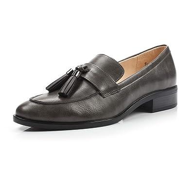 f721c61bb8373 DUNION Women s Bertha Comfortable Tassel Slip Low Heels Almond Toe Casual  Penny Loafers