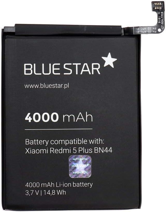 Blue Star Premium - Batería de Li-Ion Litio 4000 mAh de Capacidad Carga Rapida 2.0 Compatible con el Xiaomi Redmi 5 Plus (BN44)